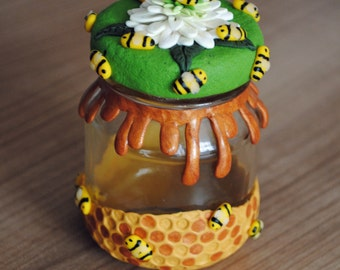 Polymer clay honey jar