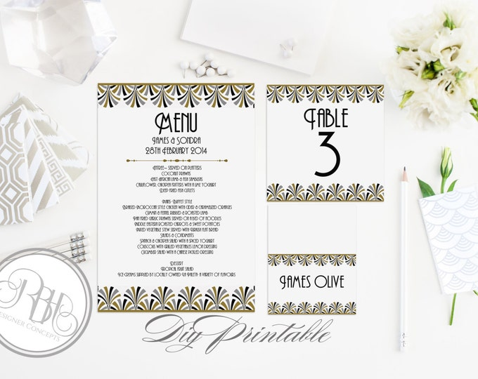 Art Deco Wedding-INSTANT DOWNLOAD Template Table Number, Place Card, Menu -DIY Editable Text-Black Gold Silver-Bridgette Table Package