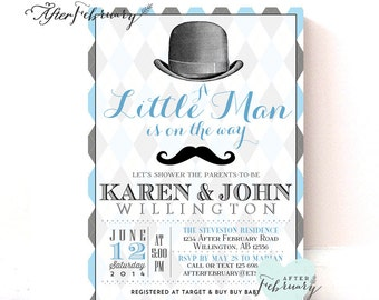 Little Man Baby Shower Invitation // Baby Boy Shower Invite // Bow Tie Little Gentleman Baby Shower // Printable OR Printed No.433BABY