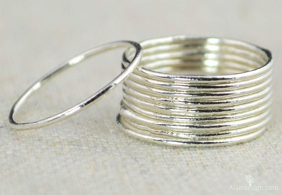 e429b004c80 10% OFF coupon on Thin Round Pure Silver Stackable Ring(s), Stacking ...