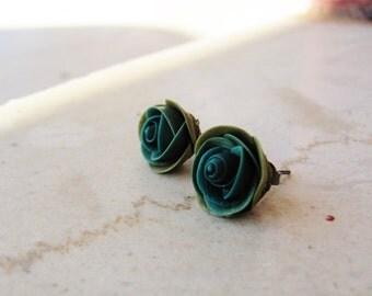 Pine green rose earrings/ polymer clay earrings/ handmade rose earrings/ stud earrings/  brass earrings/