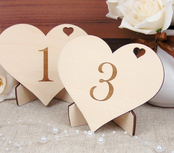 Wood wedding table number rustic wedding by yourweddingproject for Number 5 decorations