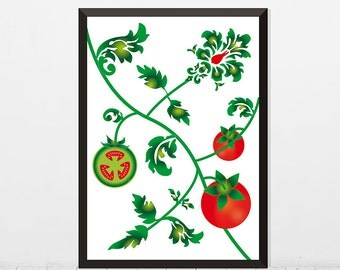 Printable Vegetable art, Baroque tomato plant, Kitchen wall decor, kitchen art, Instant download Food Illustration