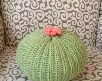 Knit Cactus Pillow--Light Green
