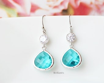 Aqua blue and clear CZ earrings in silver, Blue earrings, Bridesmaid jewelry, Everyday earrings, Wedding earrings