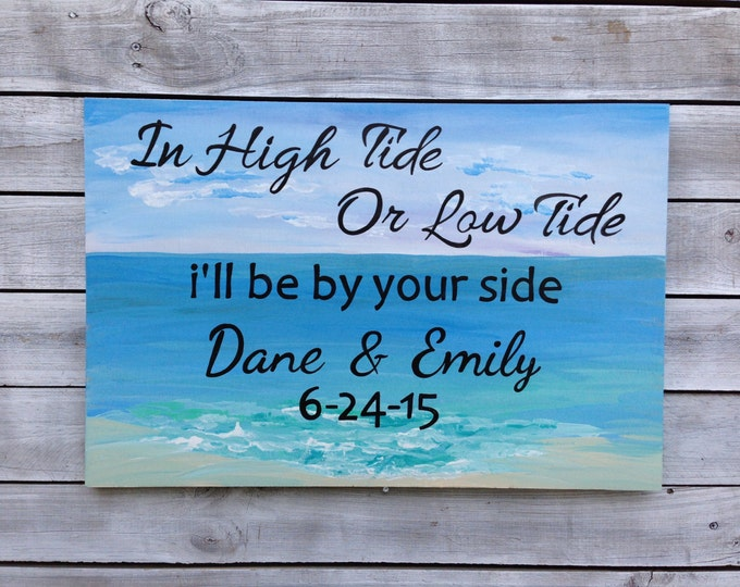 Valentines day gifts, High Tide Low Tide Anchor Sign Wedding Nautical Decor, Beach Wedding Decor, Guest Book Alternative Wood
