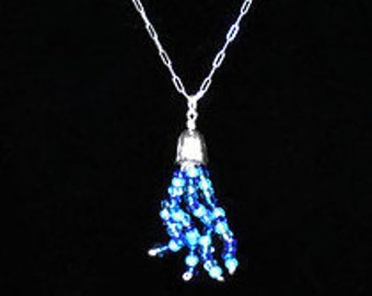 Beaded Blue Jellyfish Necklace