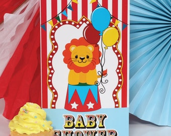 1/ Big Top Circus Baby Shower Tall Centerpiece