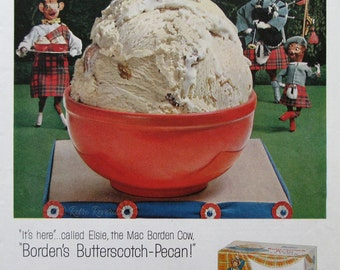 1957 Borden's Butterscotch Pecan Ice Cream Ad - 1950s Elsie the Cow