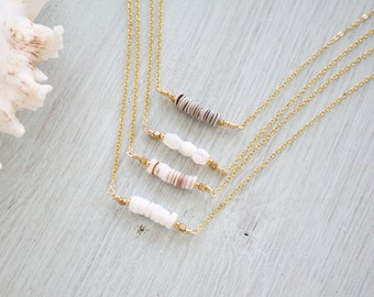 Rustic Shell Bar Necklace - Heishi Shell Necklace - Clam Shell Necklace - Troca Shell Necklace - Dainty Beach Necklace - Shell Jewellery