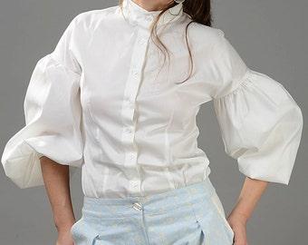 Plus Size Blouse, Women Blouse, Victorian Top, High Collar Top, White Shirt, Romantic Shirt, Sexy White Top, Elegant Shirt, Formal Top