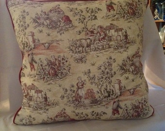 "25"" x 25"" European Square Burgundy and Creme Toile Pillow Cover"