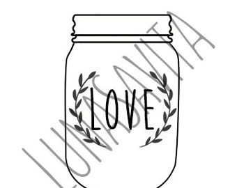 Mason Jar SVG and DXF Files for Cricut Design Space, Silhouette Studio, Die Cut Machines, Instant Download of svg, dxf, png, & jpeg