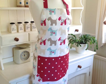 Scotties Apron, Red Dotty Apron, Ladies' Apron, Adjustable Apron, Full Apron
