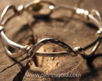Sterling silver hammered bracelet with half round loops (Style R)