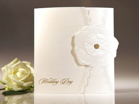 Gold Embossed Wedding Invitations: Custom White Embossed Flower & Gold Foil Wedding Invitations