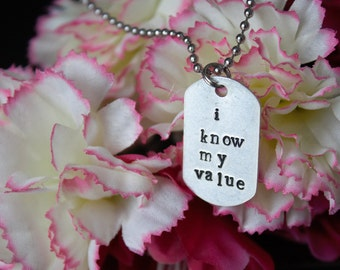 Agent Carter I Know My Value Peggy Carter Inspired Dogtag Necklace