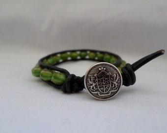 Leather Bracelet With Green Czech Glass Rondelles