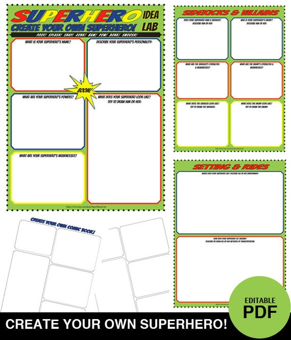Superhero Idea Lab Worksheet Set Create Your Own Superhero – Create Your Own Worksheet
