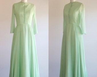 Green dress- Chiffon dress- Green evening dress- Green gown-Formal gown-1960s dress-Mint green dress- Green prom dress- Three quarter sleeve