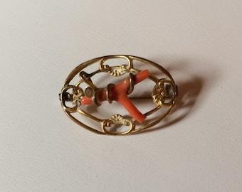 Antique Branch Coral Pin Brooch - Vintage -