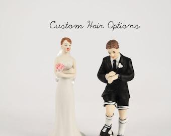 Custom Wedding Cake Toppers - Soccer Groom - Exasperated Bride - Football - Sports Wedding - Soccer Player - Bride and Groom - Porcelain
