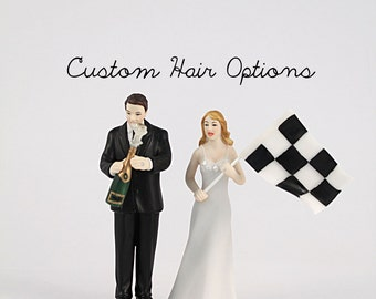 Custom Wedding Cake Toppers - Celebration Bride and Groom - Winning Bride and Groom - Sports Theme Wedding - Nascar Wedding Cake Topper