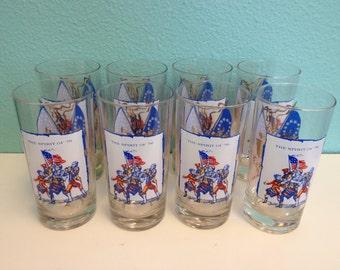 Vintage Bicentennial Glasses - Novelty Print Hi-ball Tumbler Glassware Glass set of 8 - Eagle Flag Spirit of 76 - 1976 1970s NOS
