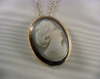 """Vintage Cameo Necklace Carved Shell Cameo Necklace Pendant Necklace Vintage Cameo Jewelry Dainty Jewelry Elegant Jewelry 16"""" 1/20 12K GF"""