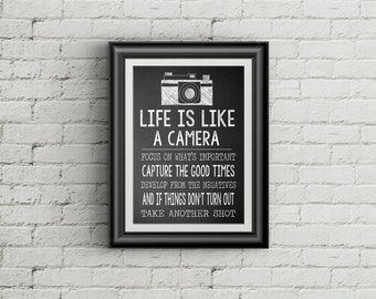 Life Is Like A Camera  Camera Wall Art Print