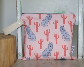 Wet Bag Wolves and Cacti - Pink and Grey Wolf and Cactus Waterproof Wet Bag Wetbag Swimsuit Bag Nappy Bag Procare