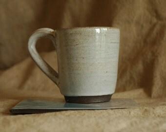 Handmade 12 oz Coffee Mug, Chocolate Brown Stoneware, White Glaze