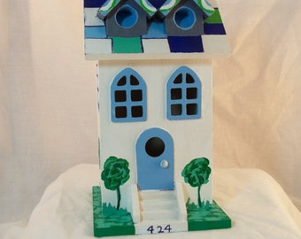 Hand Painted Two Story Decorative Birdhouse