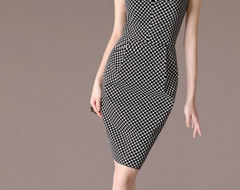 Polka Dot Sheath Dress Elegant Formal Dress Boat neck Design Summer Office Attire Custom Size Smart Dress CA205