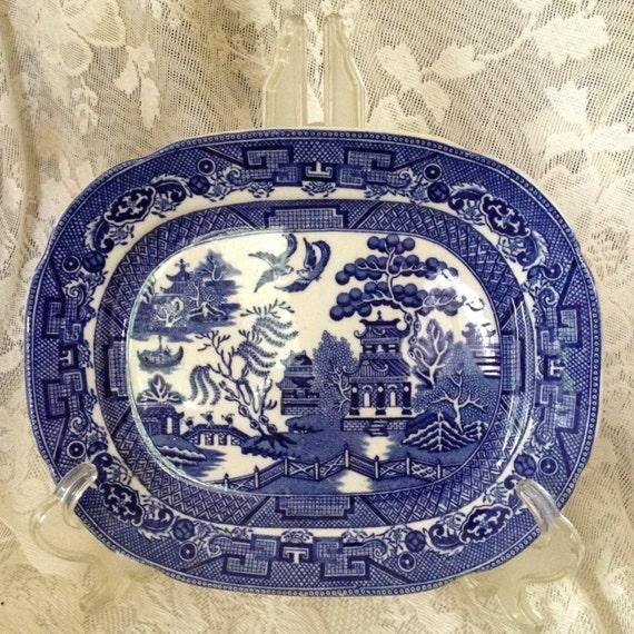 Allertons Ltd England Flow Blue Willow Rectangular Platter