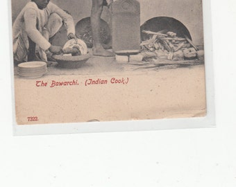 The Bawarchi Indian Cook India 1907 And Helpers Antique Postcard Photographic