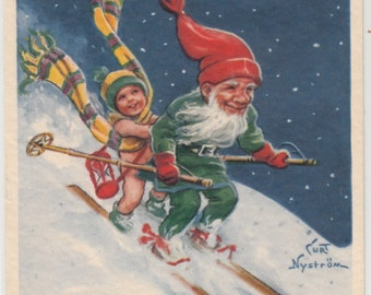 Swedish Artist Curt Nystrom Gnome Skiing With New Years Cherub In Back Merry Christmas Happy New Year Postcard