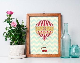 75% OFF SALE - Hot Air Balloon Print - 8x10 Nursery Art, Home Decor, Nursery Decor, Printable Art, Wall Art, Hot Air Balloon Decor