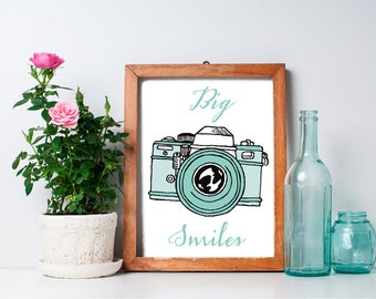 75% OFF SALE - Smile Print - 8x10 Retro Camera, Smile Quote, Printable Art, Retro Art, Dorm Decor, Smile Art, Photography Quote