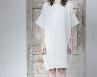 Minimal Linen Dress. Oversized Tunica.  Washed linen Shirt.