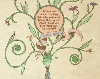 Vincent van Gogh quote art print - recycled paper