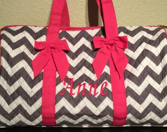 Chevron Print Monogrammed Duffle Bag Gray and White with Hot Pink Trim