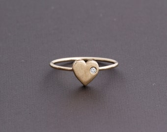 14k Gold Heart with Diamond Accent Stackable Ring Brushed