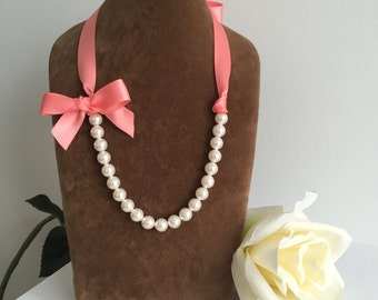 Swarovski pearl necklaces with double satin ribbon, ivory pearls, coral ribbon, bridesmaid necklace, flowergirl necklace