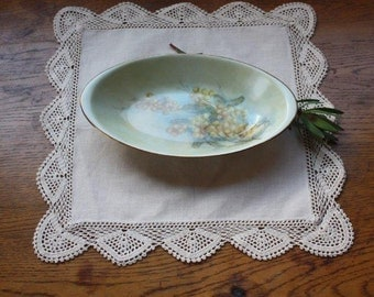 Vintage hand-painted dish - wattle