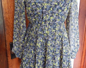 Grey floral 1970's inspired dress