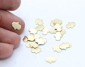 25 Pcs Raw Brass Hamsa , Stamped Hamsa , No Hole Hamsa, Hamsa Jewelry, Fatima Hand,  FNL41