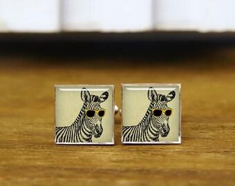 cool cute funny zebra, sketch with trendy glasses, zebra cufflinks, custom wedding cufflinks, round, square cufflinks, tie clips, or set