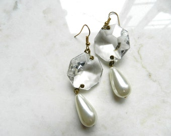 Handmade Vintage Upcycled Chandelier Crystals and Pearl Dangle Earrings