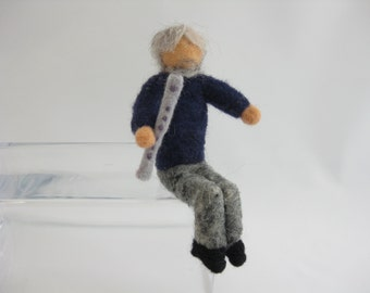 Irish pub musician, seated whistle player, needle felted wool, Waldorf inspired miniatures, Irish tin whistle
